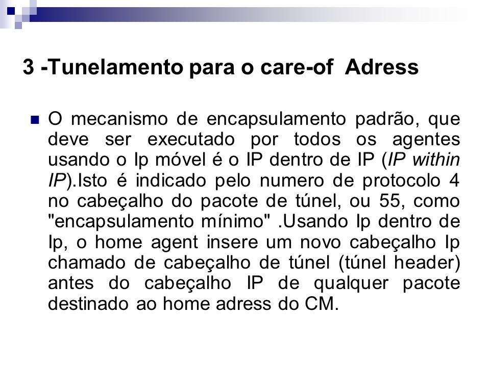 3 -Tunelamento para o care-of Adress