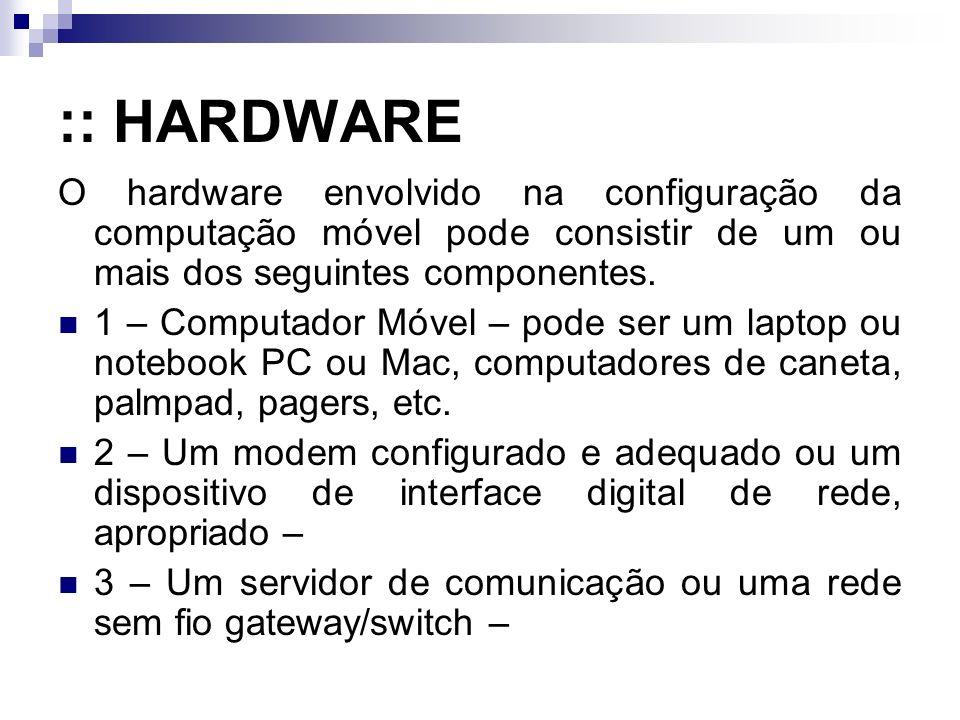 :: HARDWARE O hardware envolvido na configuração da computação móvel pode consistir de um ou mais dos seguintes componentes.