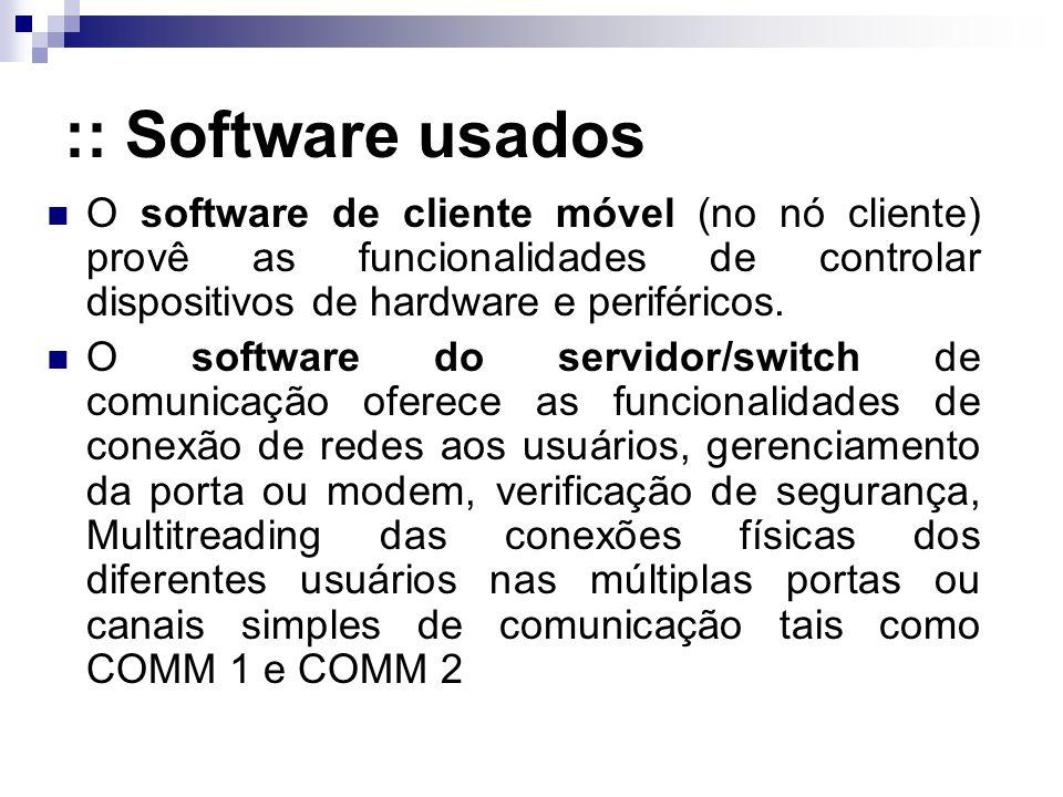 :: Software usados O software de cliente móvel (no nó cliente) provê as funcionalidades de controlar dispositivos de hardware e periféricos.