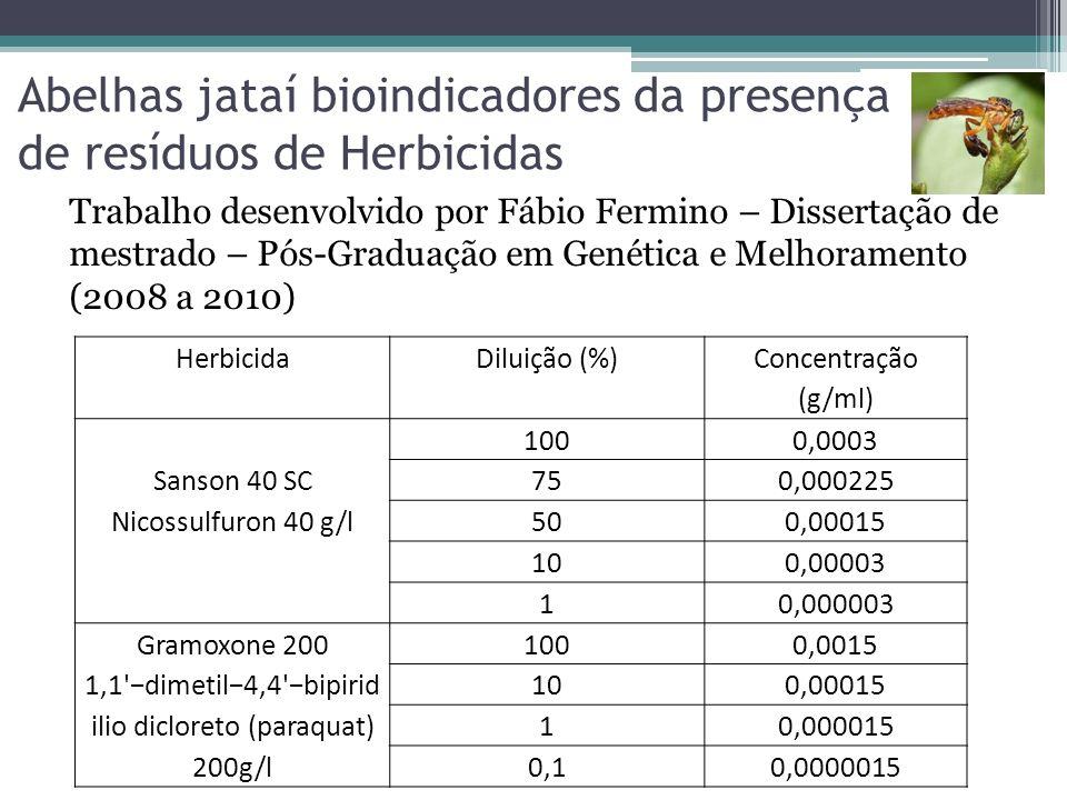 Abelhas jataí bioindicadores da presença de resíduos de Herbicidas