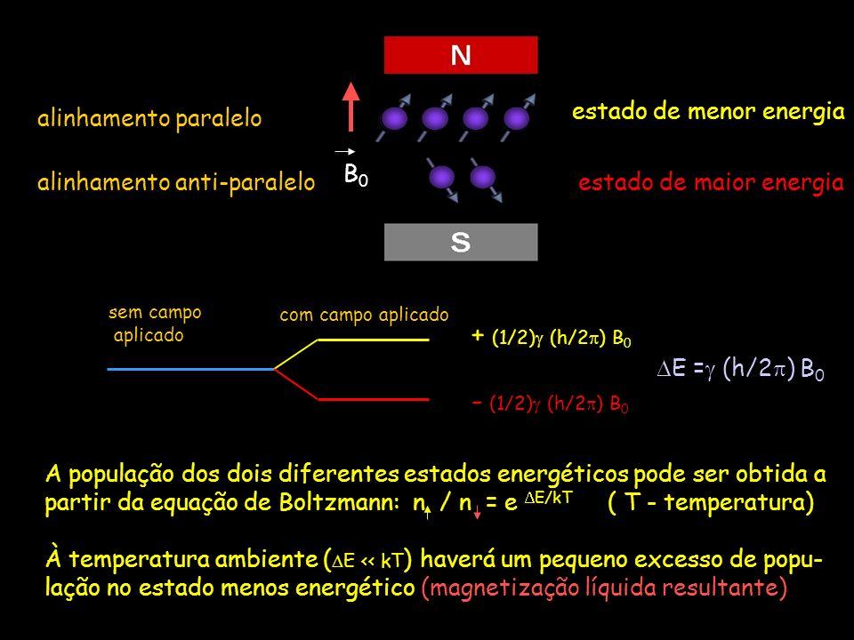 + (1/2) (h/2) B0 - (1/2) (h/2) B0 B0 alinhamento paralelo