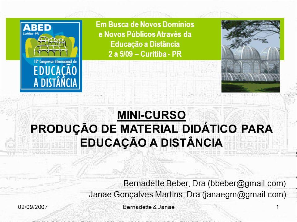 MINI-CURSO PRODUÇÃO DE MATERIAL DIDÁTICO PARA EDUCAÇÃO A DISTÂNCIA