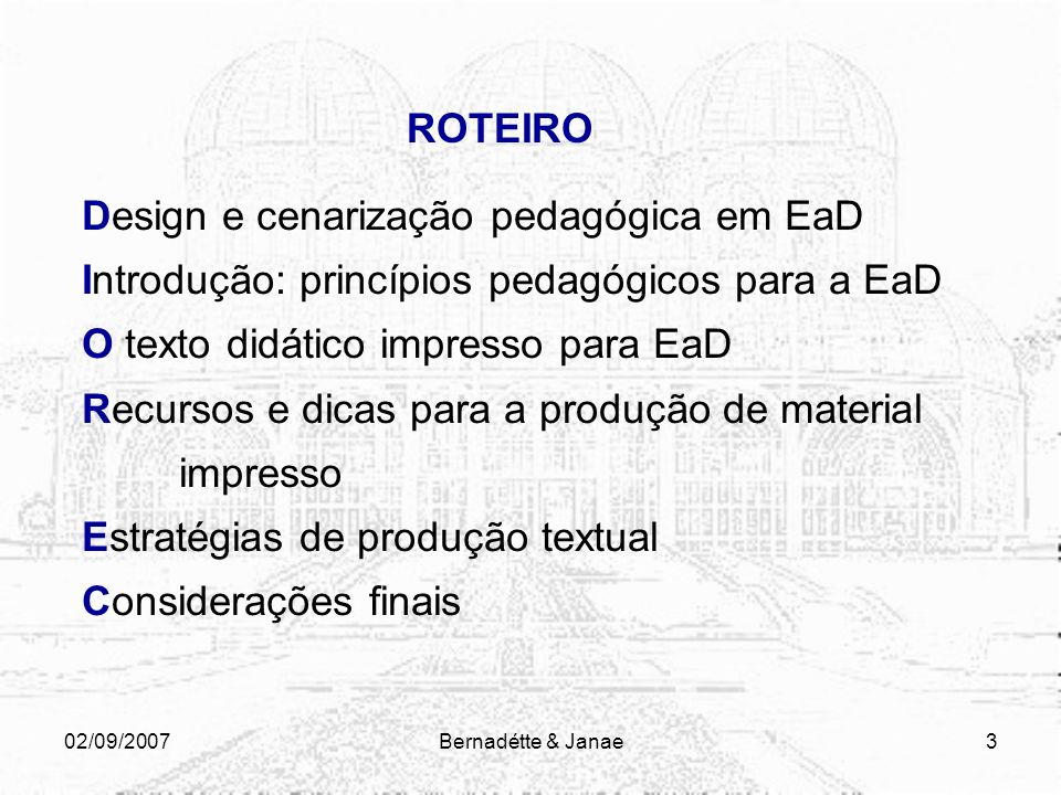 Design e cenarização pedagógica em EaD