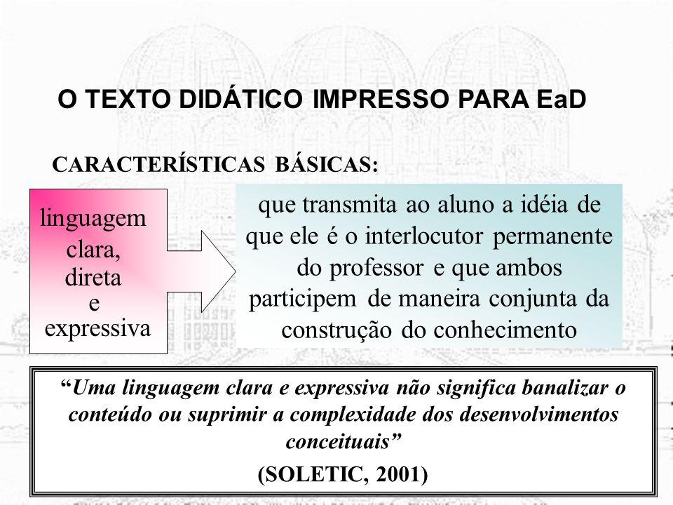 O TEXTO DIDÁTICO IMPRESSO PARA EaD