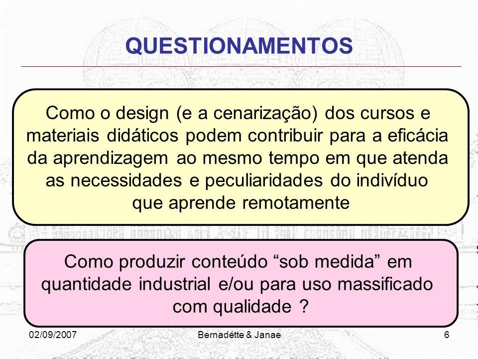 QUESTIONAMENTOS Como o design (e a cenarização) dos cursos e
