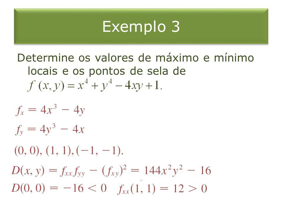 Exemplo 3 Determine os valores de máximo e mínimo locais e os pontos de sela de