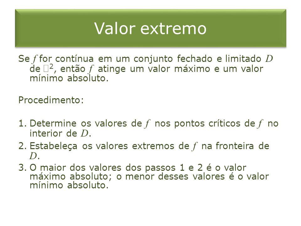 Valor extremo Se f for contínua em um conjunto fechado e limitado D de 2, então f atinge um valor máximo e um valor mínimo absoluto.