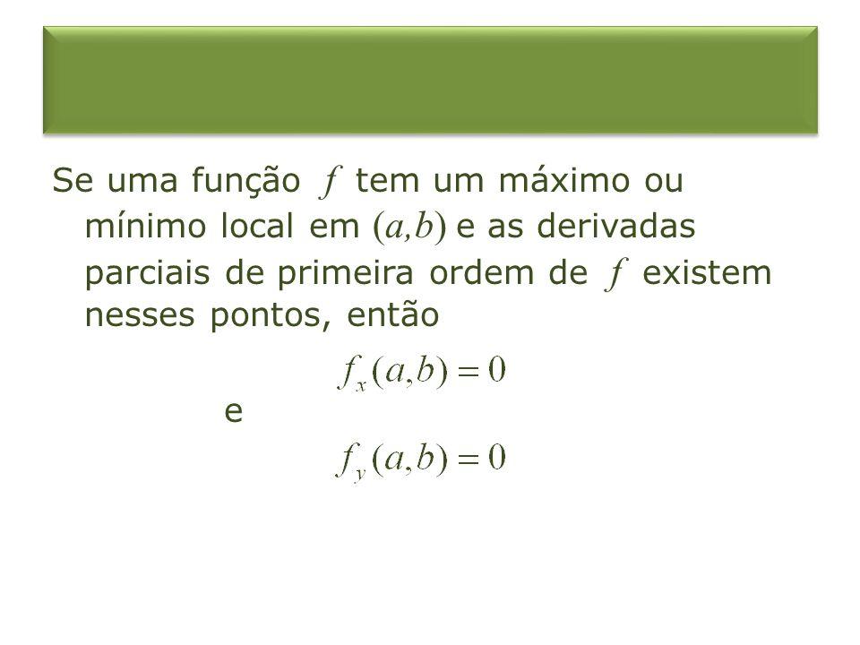 Se uma função f tem um máximo ou mínimo local em (a,b) e as derivadas parciais de primeira ordem de f existem nesses pontos, então e