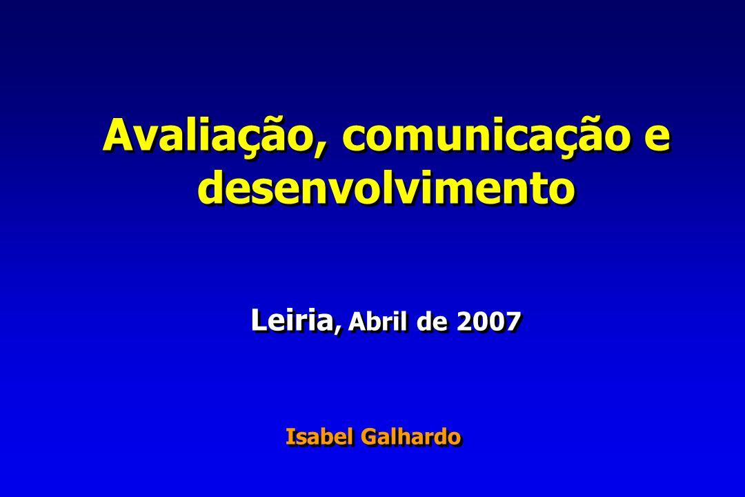 Avaliação, comunicação e desenvolvimento