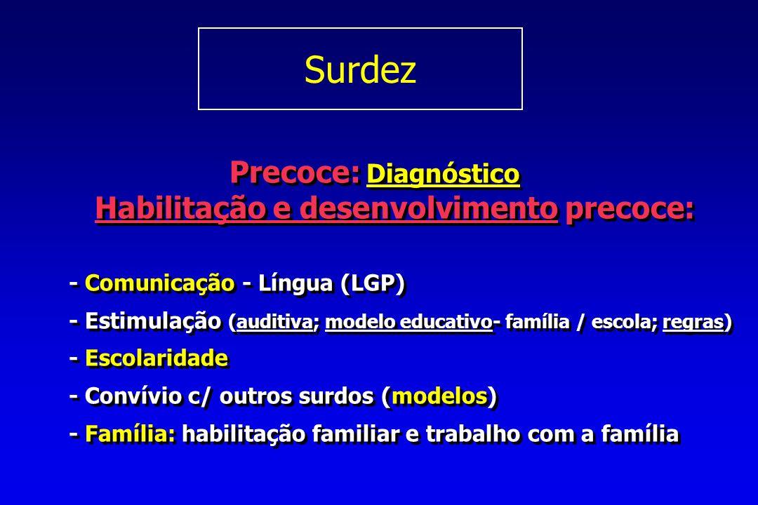 Surdez Precoce: Diagnóstico Habilitação e desenvolvimento precoce: