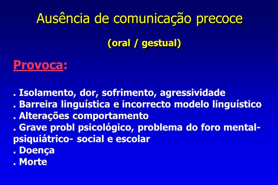 (oral / gestual) Provoca: Ausência de comunicação precoce