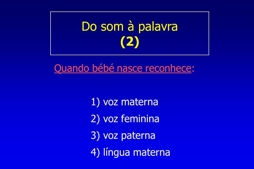 Do som à palavra (2) Quando bébé nasce reconhece: 1) voz materna