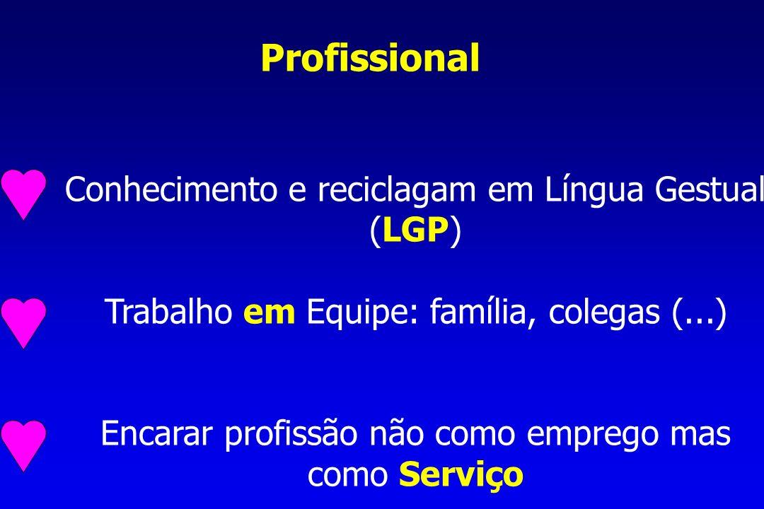 Profissional Conhecimento e reciclagam em Língua Gestual (LGP)
