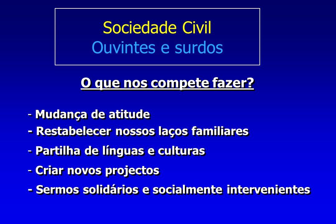 Sociedade Civil Ouvintes e surdos O que nos compete fazer