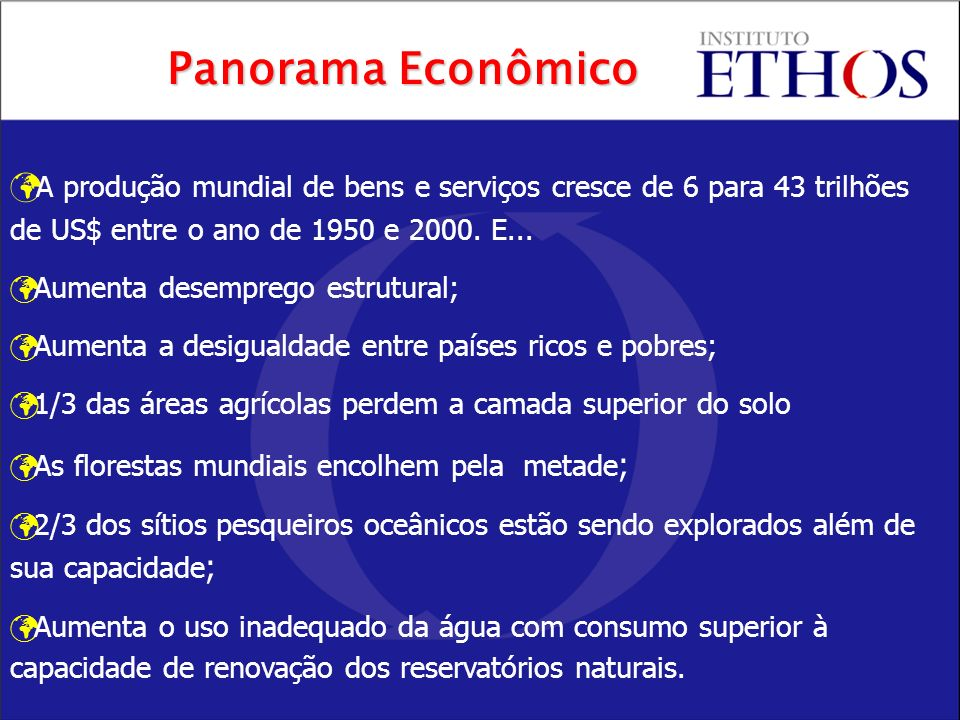 Panorama Econômico A produção mundial de bens e serviços cresce de 6 para 43 trilhões de US$ entre o ano de 1950 e 2000. E...