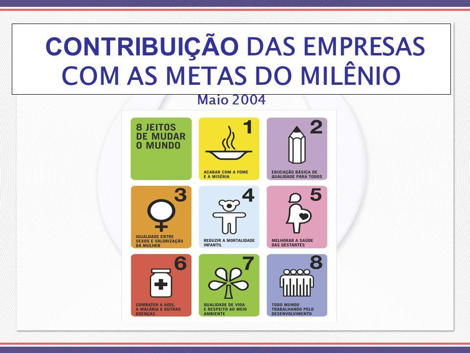 CONTRIBUIÇÃO DAS EMPRESAS COM AS METAS DO MILÊNIO Maio 2004