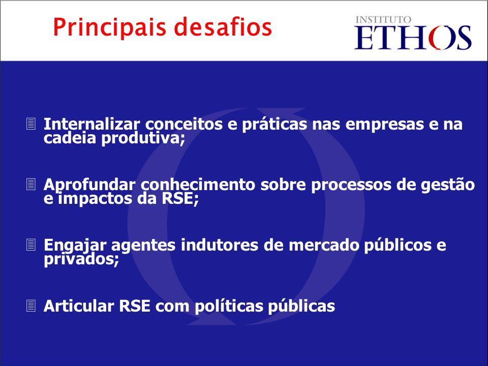 Principais desafios Internalizar conceitos e práticas nas empresas e na cadeia produtiva;