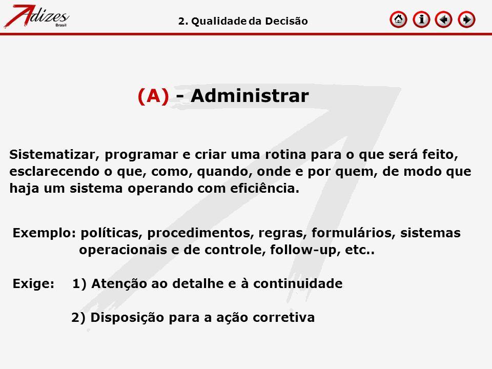 2. Qualidade da Decisão (A) - Administrar.