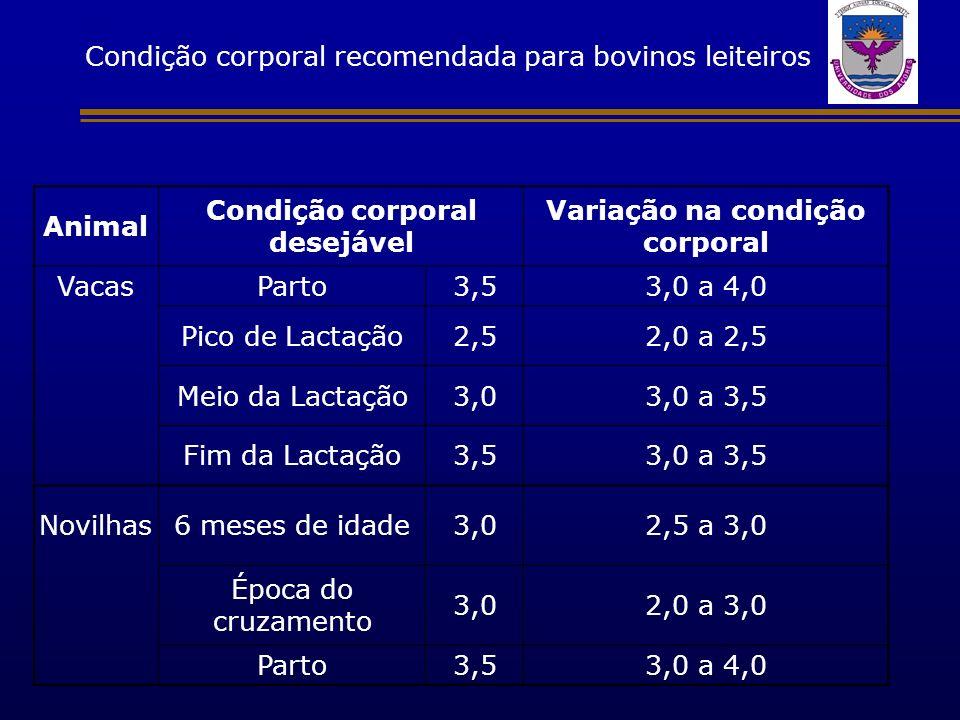 Condição corporal desejável Variação na condição corporal