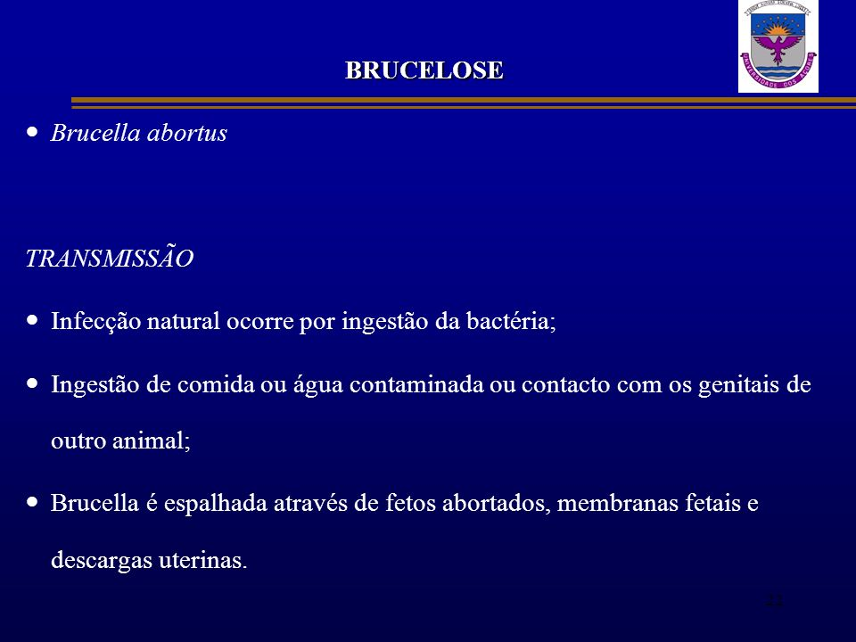 BRUCELOSE Brucella abortus. TRANSMISSÃO. Infecção natural ocorre por ingestão da bactéria;