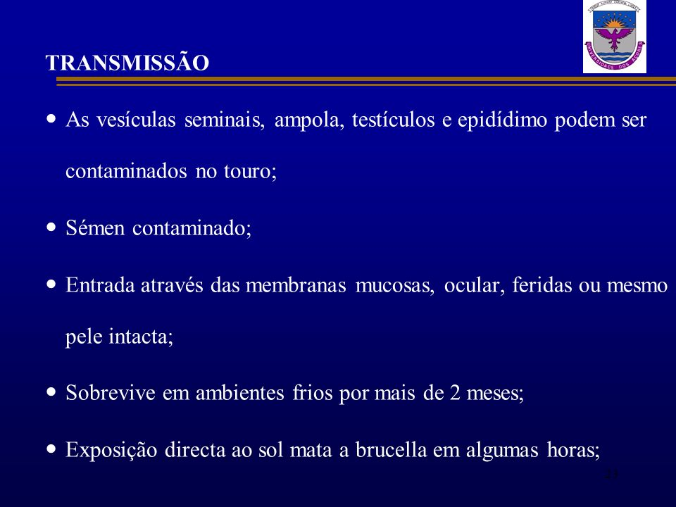 TRANSMISSÃO As vesículas seminais, ampola, testículos e epidídimo podem ser contaminados no touro; Sémen contaminado;
