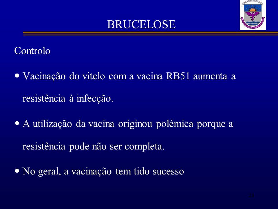 BRUCELOSE Controlo. Vacinação do vitelo com a vacina RB51 aumenta a resistência à infecção.