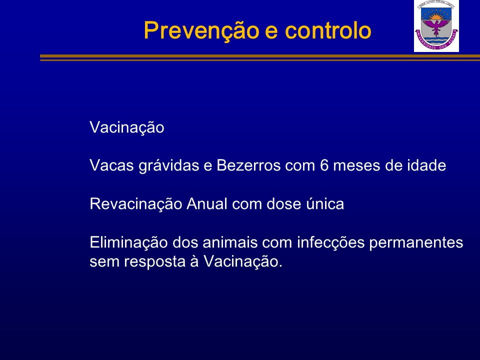 Prevenção e controlo Vacinação