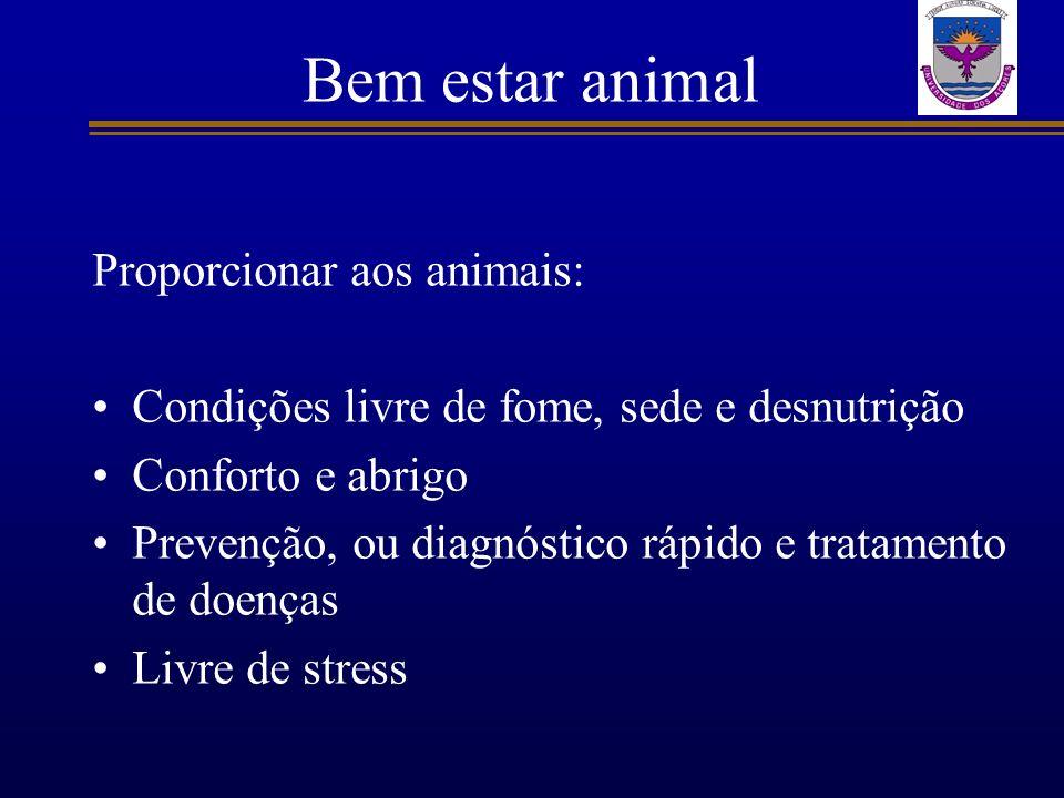 Bem estar animal Proporcionar aos animais: