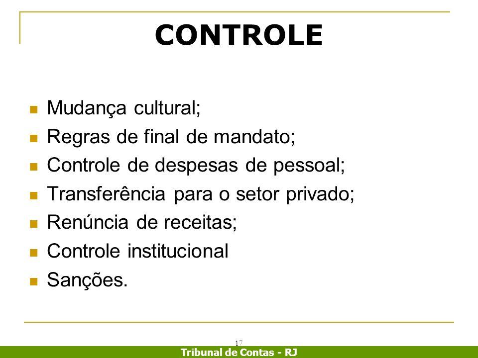 CONTROLE Mudança cultural; Regras de final de mandato;