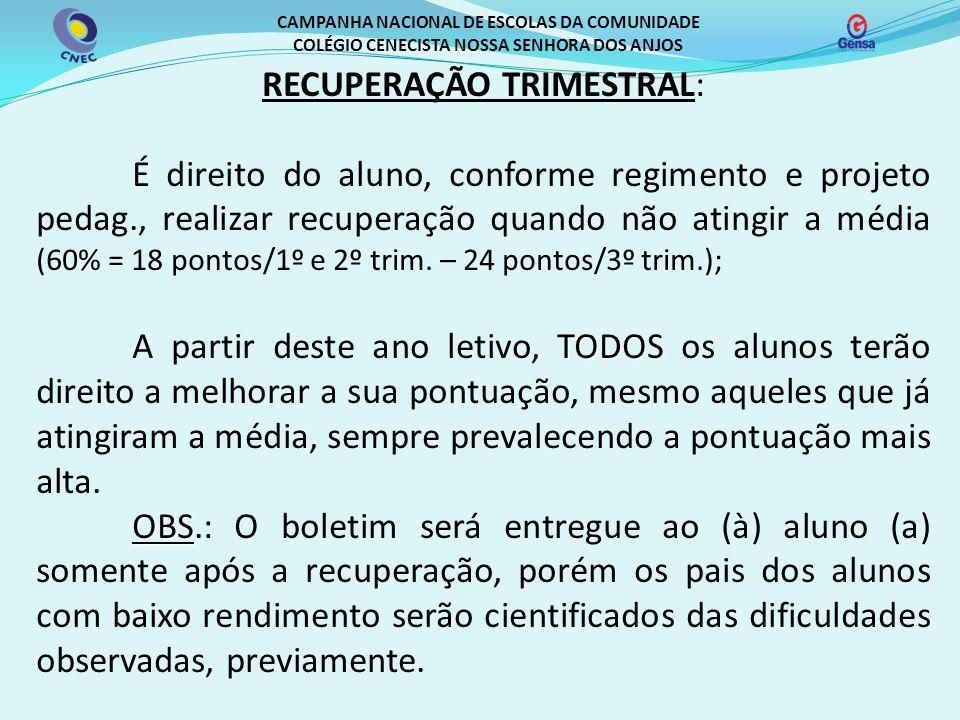 RECUPERAÇÃO TRIMESTRAL: