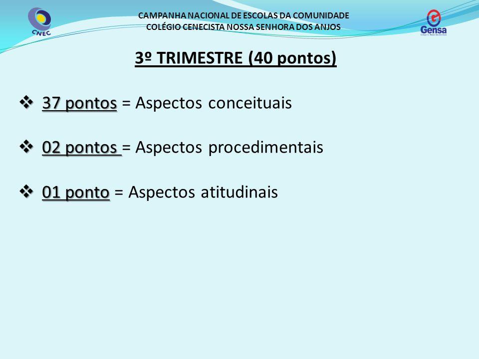 37 pontos = Aspectos conceituais 02 pontos = Aspectos procedimentais
