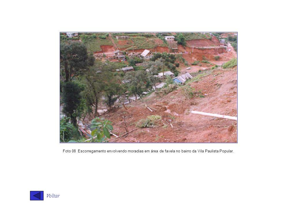 Foto 08 Escorregamento envolvendo moradias em área de favela no bairro da Vila Paulista Popular.