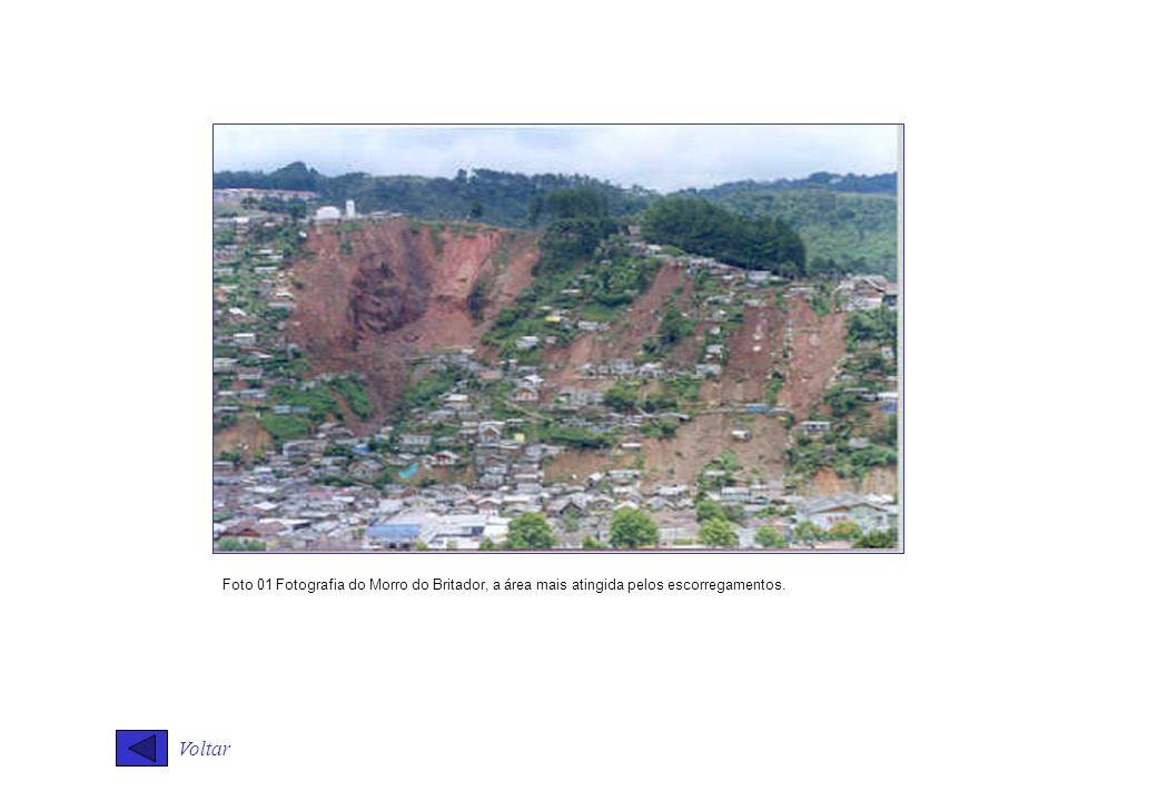 Foto 01 Fotografia do Morro do Britador, a área mais atingida pelos escorregamentos.