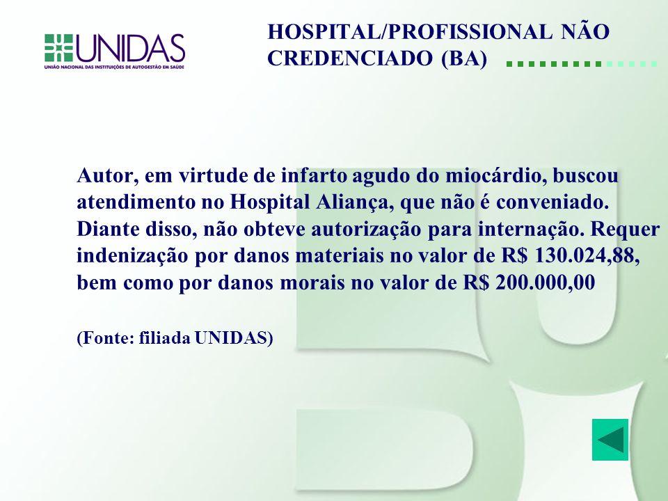 HOSPITAL/PROFISSIONAL NÃO CREDENCIADO (BA)