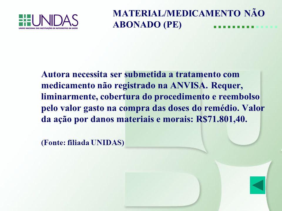 MATERIAL/MEDICAMENTO NÃO ABONADO (PE)