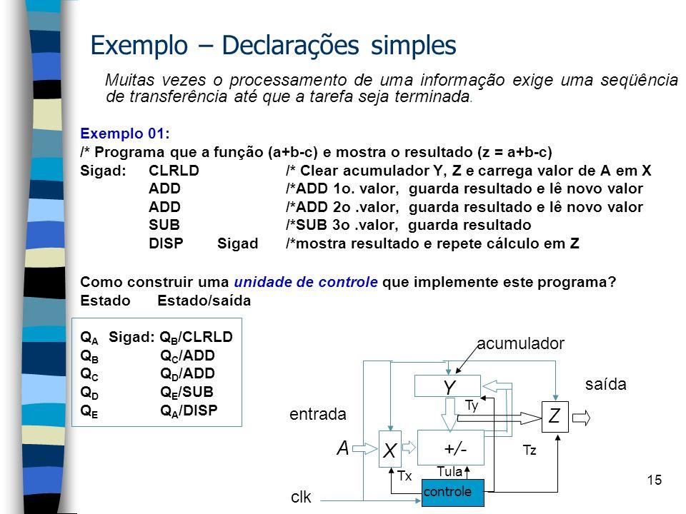 Exemplo – Declarações simples