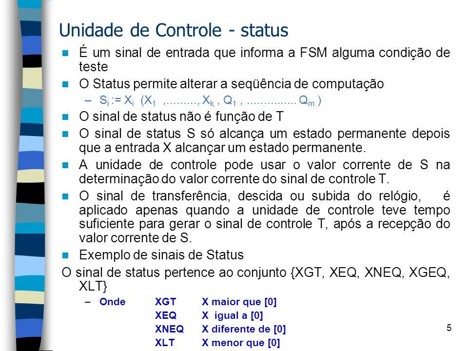 Unidade de Controle - status
