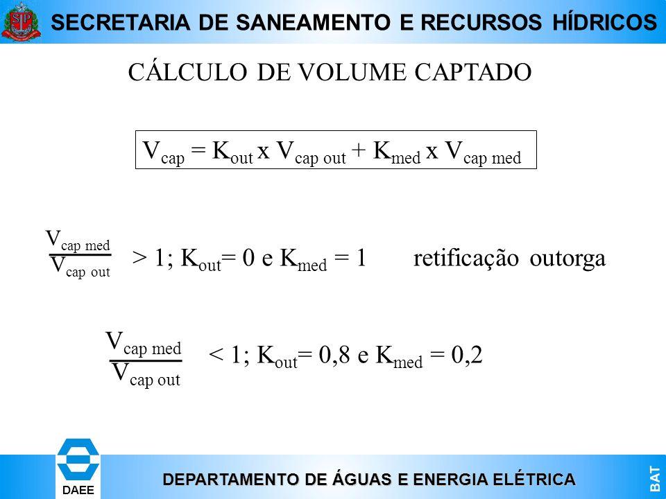 CÁLCULO DE VOLUME CAPTADO