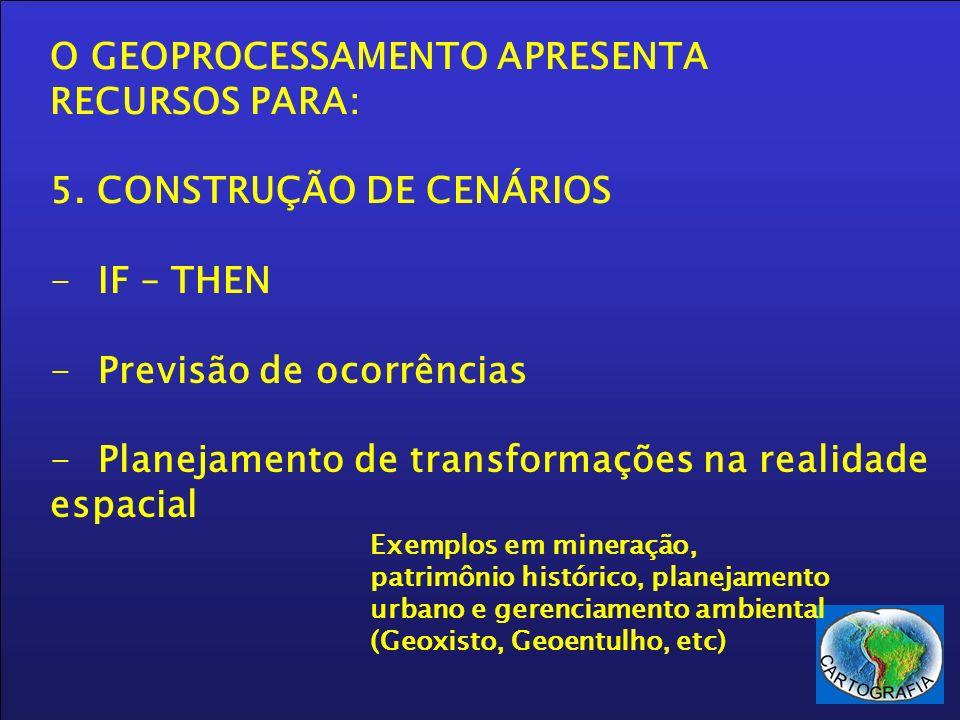 O GEOPROCESSAMENTO APRESENTA RECURSOS PARA: 5. CONSTRUÇÃO DE CENÁRIOS