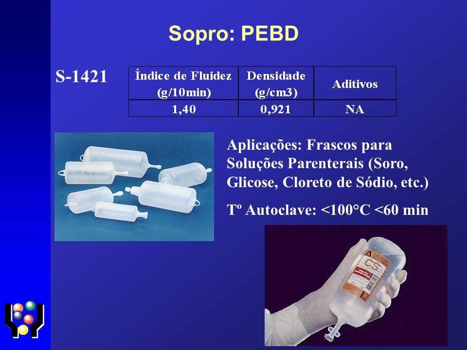 Sopro: PEBD S-1421. Aplicações: Frascos para Soluções Parenterais (Soro, Glicose, Cloreto de Sódio, etc.)