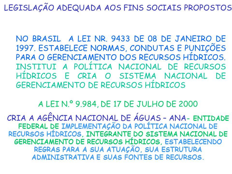 LEGISLAÇÃO ADEQUADA AOS FINS SOCIAIS PROPOSTOS