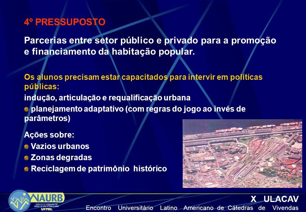 4º PRESSUPOSTO Parcerias entre setor público e privado para a promoção e financiamento da habitação popular.