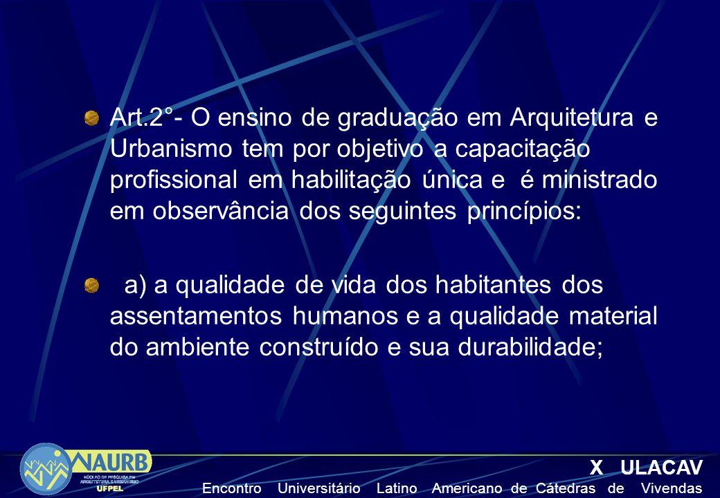 Art.2°- O ensino de graduação em Arquitetura e Urbanismo tem por objetivo a capacitação profissional em habilitação única e é ministrado em observância dos seguintes princípios: