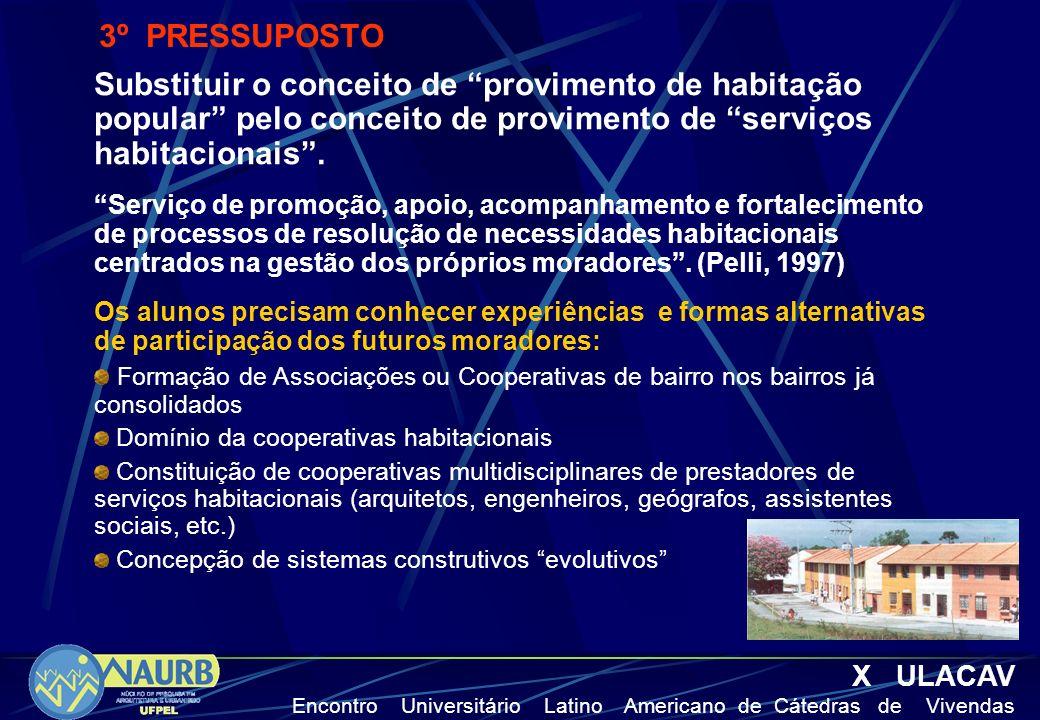 3º PRESSUPOSTO Substituir o conceito de provimento de habitação popular pelo conceito de provimento de serviços habitacionais .