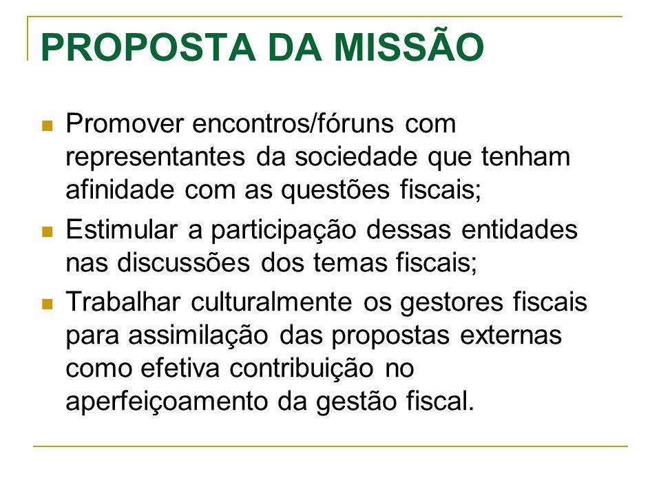 PROPOSTA DA MISSÃO Promover encontros/fóruns com representantes da sociedade que tenham afinidade com as questões fiscais;