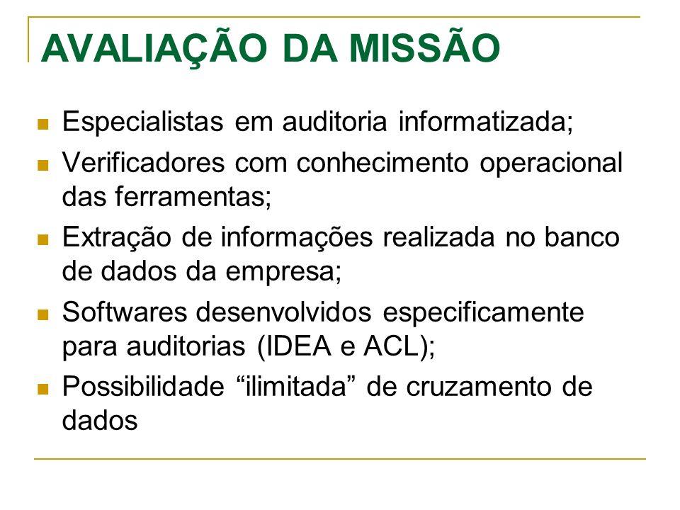 AVALIAÇÃO DA MISSÃO Especialistas em auditoria informatizada;