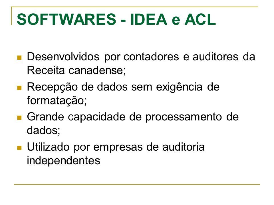 SOFTWARES - IDEA e ACL Desenvolvidos por contadores e auditores da Receita canadense; Recepção de dados sem exigência de formatação;