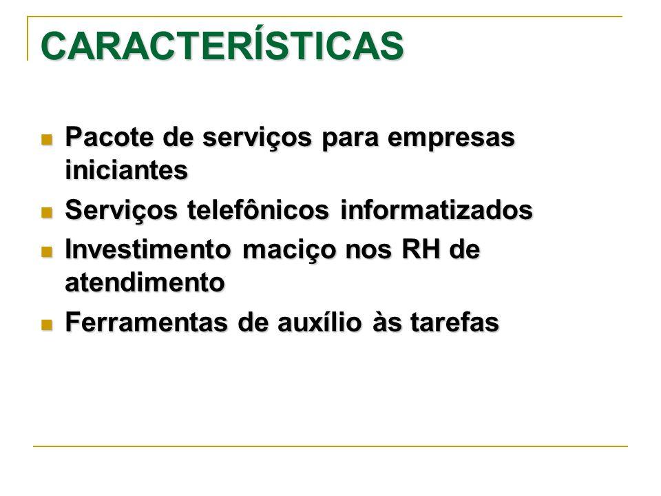 CARACTERÍSTICAS Pacote de serviços para empresas iniciantes