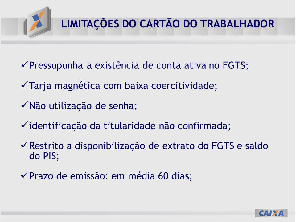 LIMITAÇÕES DO CARTÃO DO TRABALHADOR