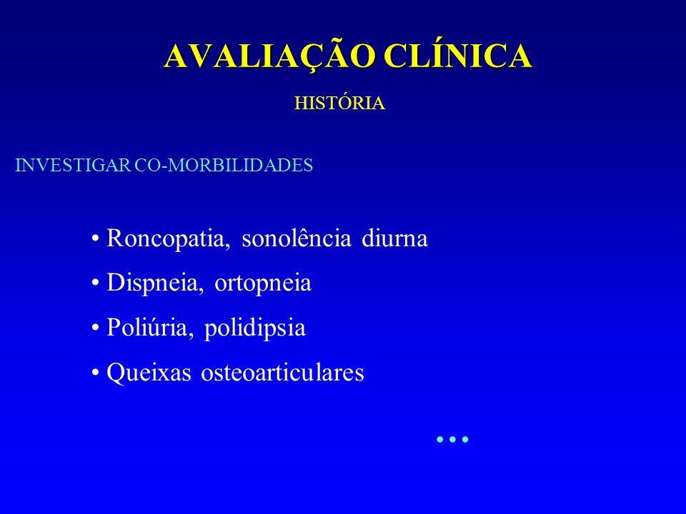 AVALIAÇÃO CLÍNICA Roncopatia, sonolência diurna Dispneia, ortopneia